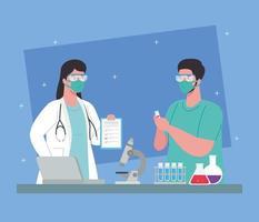 pesquisa de vacina médica para coronavírus com médicos em laboratório vetor