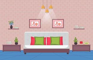 interior aconchegante do quarto com cama de casal e lâmpadas