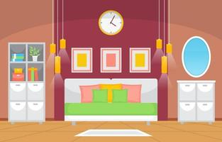 interior aconchegante do quarto com cama de casal, luminárias e prateleiras vetor