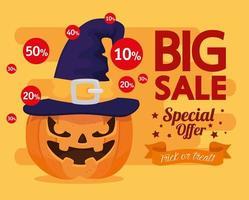 feliz banner de venda de halloween vetor