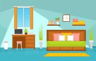 interior aconchegante do quarto com cama de casal, mesa e estantes de livros