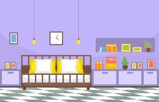 interior aconchegante do quarto com cama de casal e prateleiras
