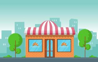 confeitaria chique com logotipo de croissant nas vitrines