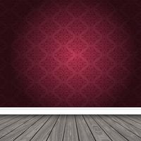Quarto vazio com papel de parede adamascado e piso de madeira vetor