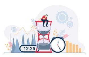 empresário pensando em gerenciamento de tempo e ilustração de estratégia de negócios
