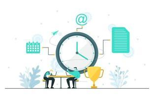 empresários falando sobre gerenciamento de tempo e ilustração de estratégia de negócios