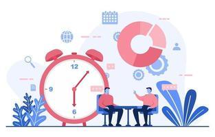 empresários falando sobre gerenciamento de tempo e ilustração de estratégia de negócios vetor