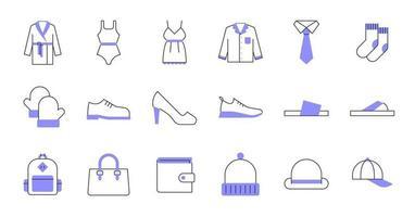 ícones de roupas de linha colorida vetor