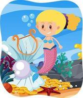 sereia fofa em fundo subaquático vetor