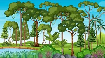 cena de floresta com lagoa e muitas árvores vetor