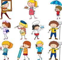 conjunto de diferentes personagens de desenhos animados doodle de crianças vetor
