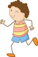personagem de desenho animado de menino bonito em estilo doodle isolado vetor