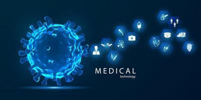 tratamento médico em conceito de inovação abstrato tecnologia comunicação conceito de fundo vector. conceito de coronavírus ou corona vírus. covid-19 vetor