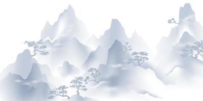pintura de paisagem com tinta chinesa e água cartão de banner de feliz ano novo chinês vetor