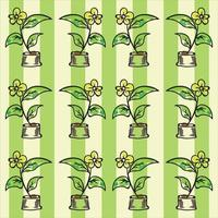 padrão de flor com fundo de listras verdes vetor