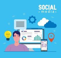 mídia social, homem com smartphone e ícones eletrônicos vetor