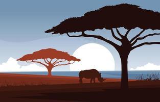 rinoceronte em ilustração de paisagem de savana africana vetor