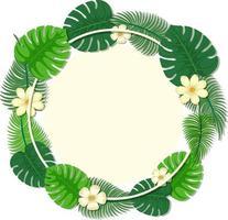 modelo de quadro de folhas tropicais redondas vetor