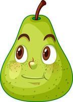 personagem de desenho animado de pêra verde com expressão de rosto feliz em fundo branco vetor