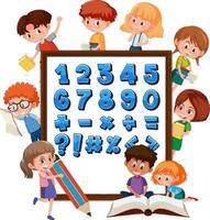 números de 0 a 9 e símbolos matemáticos no banner com muitas crianças fazendo atividades diferentes vetor