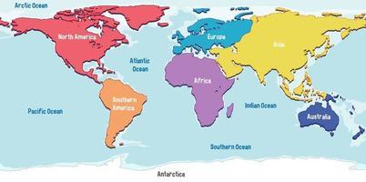 mapa mundial com nomes de continentes e oceanos vetor