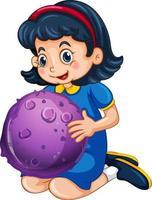 personagem de desenho animado de garota feliz segurando um modelo de planeta vetor