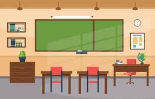 sala de aula do ensino fundamental com carteiras e ilustração a lousa vetor