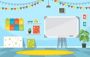jardim de infância colorido ou sala de aula do ensino fundamental com ilustrações de carteiras e brinquedos vetor