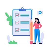ilustração do conceito de lista de verificação feminina