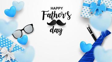 Feliz dia dos pais. projeto com coração e caixa de presente em fundo branco. vetor
