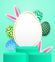 pódio de exibição de produto de tema de Páscoa feliz. ovo de Páscoa colorido e orelhas de coelho sobre fundo verde menta. vetor. ilustração.