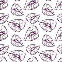 ilustração em vetor contorno lábios sem costura