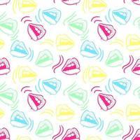 ilustração em vetor padrão sem emenda de lábios coloridos