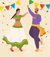 casal com roupas tradicionais dançando vetor