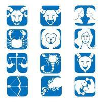 Conjunto de ícones do horóscopo dos signos do zodíaco. imagens astrológicas isoladas em um estilo simples de azul e branco. vetor
