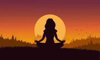 silhueta plana cartoon estilo mulher meditação ou ioga na natureza. conceito ilustração vetorial estilo de vida saudável. vetor