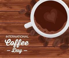 pôster do dia internacional do café com a xícara de café com vista superior vetor