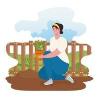 mulher jardinagem ao ar livre vetor