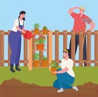 homens jardinando ao ar livre vetor
