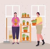 mulheres jardinando dentro de casa vetor