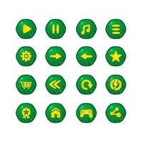 conjunto de vetor de design de coleção de botão de jogo verde