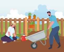 casal fazendo jardinagem ao ar livre vetor