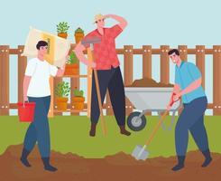 pessoas jardinando ao ar livre vetor