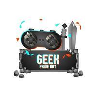 vetor de design de conceito de pedra do dia do orgulho geek