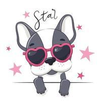 ilustração animal de cachorro bonito menina com óculos. vetor