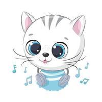 Menino gatinho fofo dos desenhos animados com fones de ouvido ouvindo música vetor