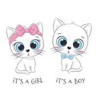 gatinho fofo com frases é um menino e é uma menina vetor