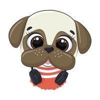 Cão bonito dos desenhos animados com auscultadores a ouvir música vetor