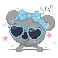 ilustração animal com coala linda garota com óculos. vetor