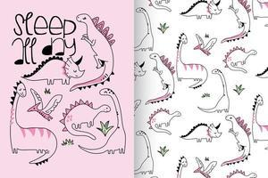 dinossauro fofo desenhado à mão com conjunto de padrões